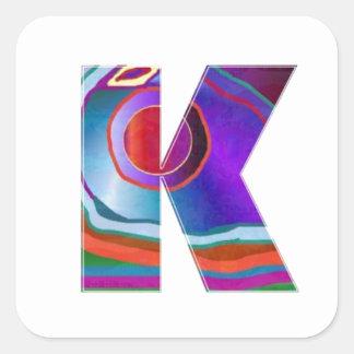 ALPHABET Kay : ID Identity initial name decorative Square Sticker