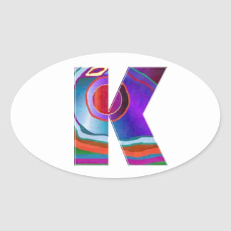 ALPHABET Kay : ID Identity initial name decorative Oval Stickers