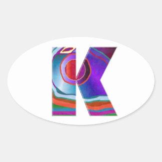 ALPHABET Kay : ID Identity initial name decorative Oval Stickers