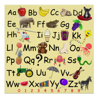 Alphabet Learn ABC's 123 Pre School Picture Chart