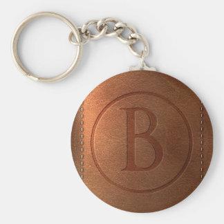 alphabet leather letter B Basic Round Button Key Ring