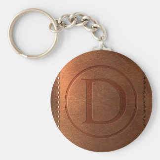 alphabet leather letter D Basic Round Button Key Ring