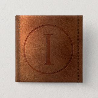 alphabet leather letter I 15 Cm Square Badge