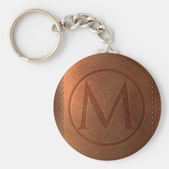 alphabet leather letter M Basic Round Button Key Ring