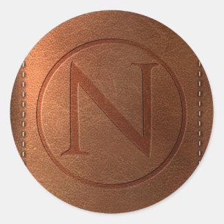 alphabet leather letter NR Round Sticker