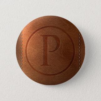alphabet leather letter P 6 Cm Round Badge