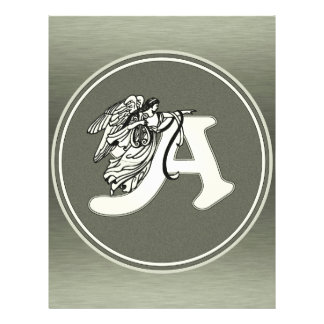 alphabet letter A monogram initial with angel in s 21.5 Cm X 28 Cm Flyer