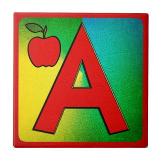 Alphabet Letter A Small Square Tile