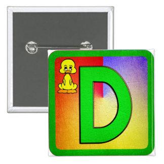 Alphabet Letter D 15 Cm Square Badge
