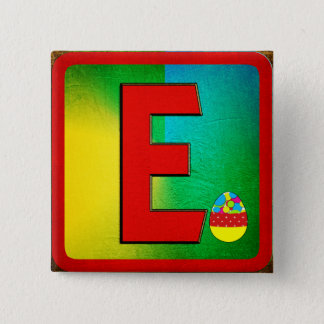 Alphabet Letter E 15 Cm Square Badge