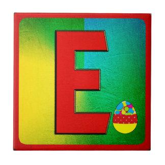Alphabet Letter E Small Square Tile