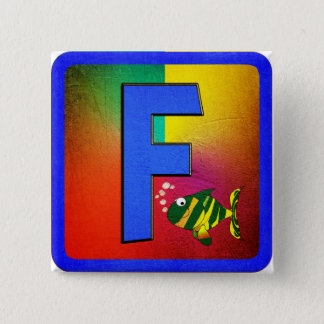 Alphabet Letter F 15 Cm Square Badge