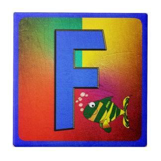 Alphabet Letter F Small Square Tile