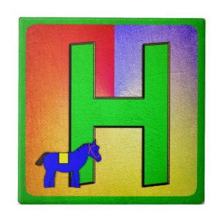 Alphabet Letter H Small Square Tile