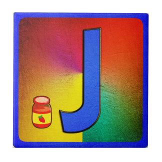 Alphabet Letter J Small Square Tile