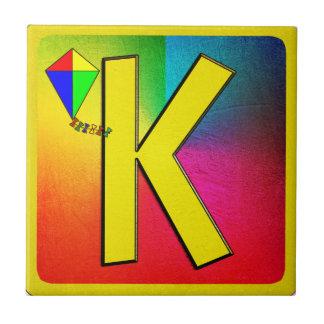 Alphabet Letter K Small Square Tile