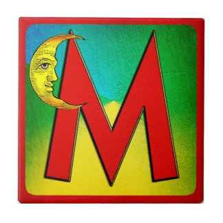 Alphabet Letter M Small Square Tile