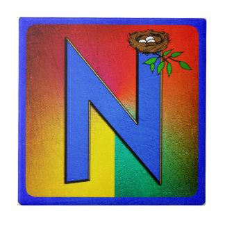 Alphabet Letter N Small Square Tile