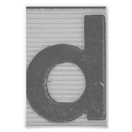 Alphabet Letter Photography D2 Black and White 4x6 Photo Print