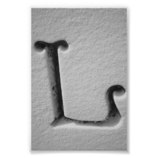 Alphabet Letter Photography L4 Black and White 4x6 Photo Print