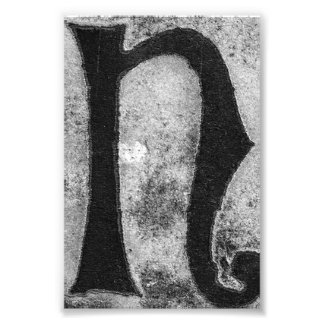 Alphabet Letter Photography N3 Black and White 4x6 Photo Print