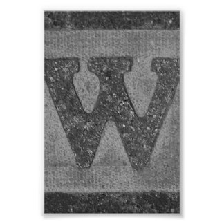 Alphabet Letter Photography W3 Black and White 4x6 Photo Print