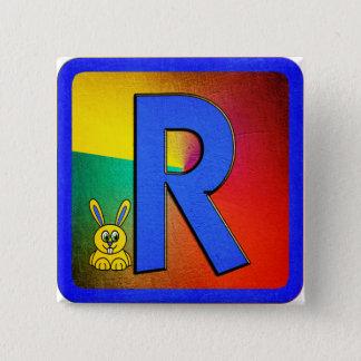 Alphabet Letter R 15 Cm Square Badge