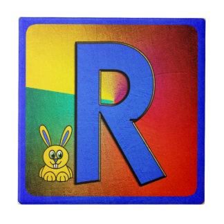 Alphabet Letter R Small Square Tile