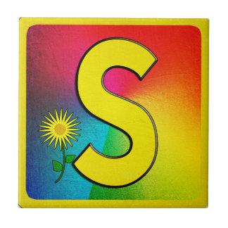 Alphabet Letter S Small Square Tile