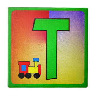 Alphabet Letter T Small Square Tile