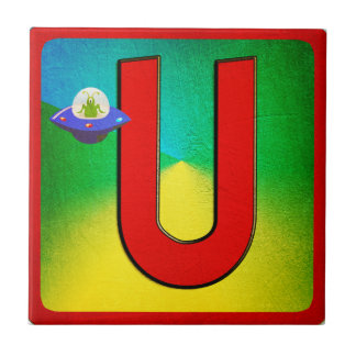 Alphabet Letter U Small Square Tile