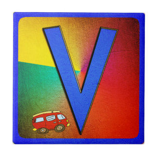 Alphabet Letter V Small Square Tile