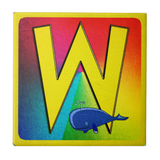 Alphabet Letter W Small Square Tile