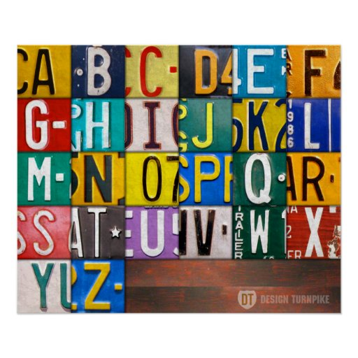 Alphabet Letters License Plate Art Poster