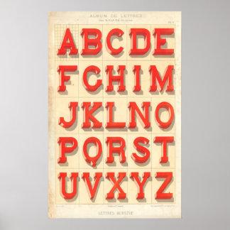 Alphabet Lettres monstre Affiche