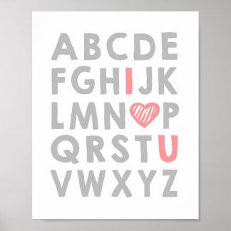 Alphabet Nursery art I love you Girl ABC nursery Poster