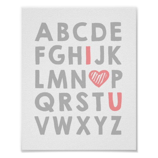 Alphabet Nursery art I love you Girl ABC