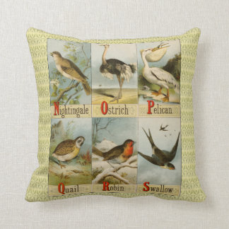 Alphabet of birds: Nightingale to Swallow, vintage Cushion