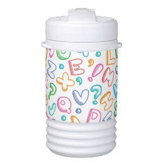 alphabet pattern drinks cooler