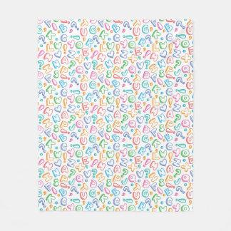 alphabet pattern fleece blanket