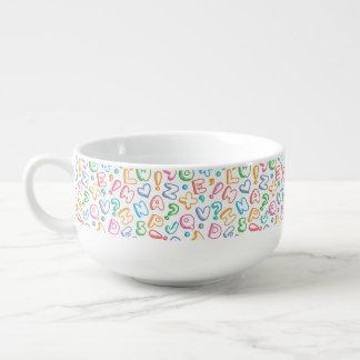 alphabet pattern soup mug