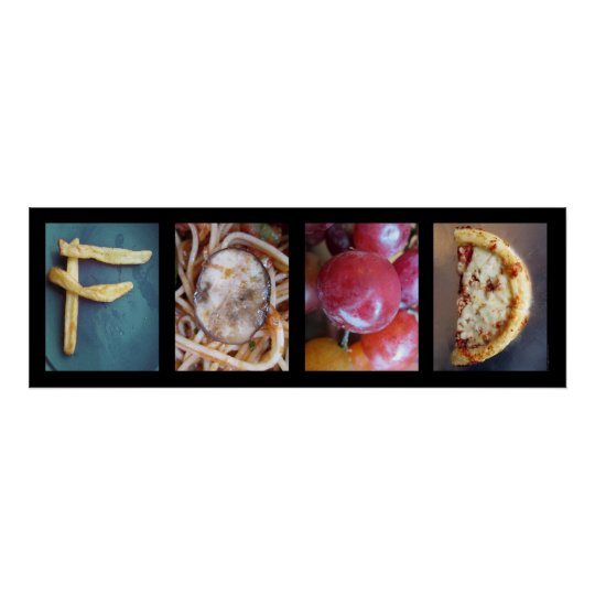 Alphabet Photography Collage, FOOD Letter Word Art Poster