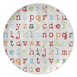 "Alphabet Plate 10"" Melamine"