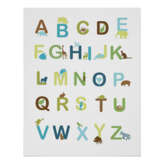 Alphabet Poster in earthy colors
