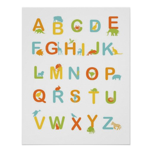 Alphabet poster with Sunny colours