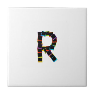 Alphabet R with colorful polaroids Tiles