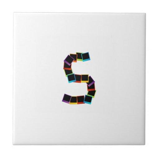 Alphabet S with colorful polaroids Ceramic Tiles