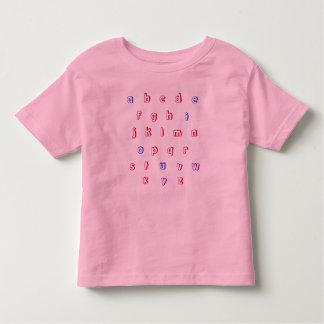 Alphabet shirt, lower case, red, blue, purple shirt