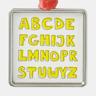 Alphabet Silver-Colored Square Decoration