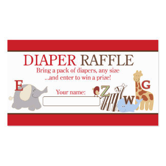 Alphabet Soup ABC Jungle Baby Shower Diaper Raffle Pack Of Standard Business Cards